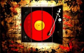 Обои ноты, музыка, пластинка