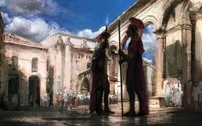 Обои доспех, город, рим, небо, облака, Воин, оружие