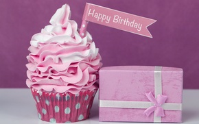 Картинка праздник, подарок, Happy Birthday, выпечка, сладкое, кекс