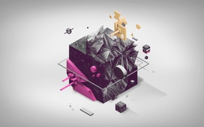Обои черное, розовое, кубик, куб