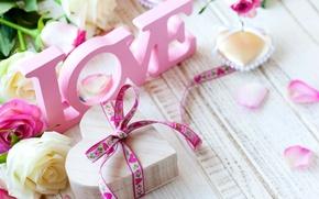 Картинка сердце, Valentine's Day, романтика, любовь, розы, romantic, pink, love, heart, rose