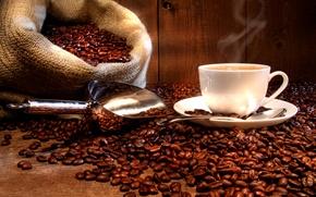 Картинка чашка, напиток, кофе, горячий, блюдце, мешок, зерна, совок, ложка