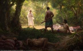 Картинка лес, девушка, убийство, парень, клинок, CG wallpapers, Massacre, Olly Lawson
