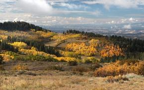 Картинка Небо, Природа, Облака, Осень, Деревья