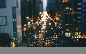 Картинка автомобили, улицы, фары, Нью-Йорк, такси, боке, пешеходный, Соединенные Штаты, быт, здания