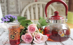Обои чайник, натюрморт, чай, розы