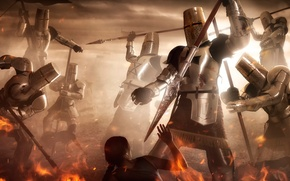 Картинка крестоносцы, Holy Wars, арт, фантазия, рыцари, огонь