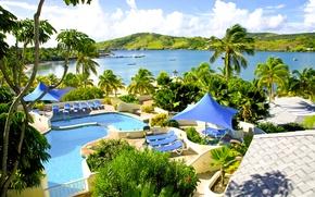 Картинка пальмы, океан, бассейн, курорт, Карибы, Caribbean, Antigua, St.James Club and Villas resort