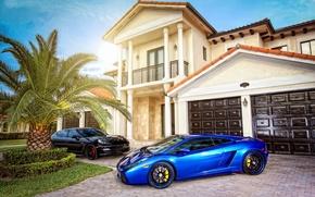 Картинка Солнце, Авто, Lamborghini, Дом, Тюнинг, Машины, Вилла, Особняк