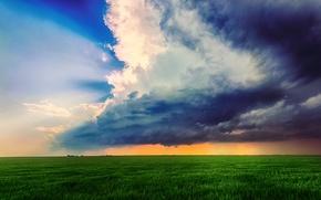 Картинка поле, лето, небо, облака, тучи