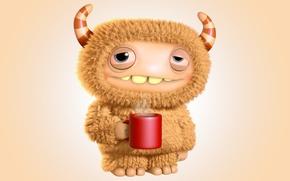Картинка кофе, монстр, утро, monster, cartoon, персонаж, funny, cute