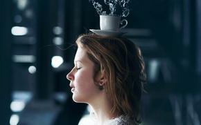 Картинка девушка, всплеск, чашка, Vincent Bourilhon, Splash your world