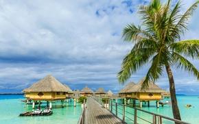 Картинка море, солнце, тропики, пальмы, лодки, бунгало, Bora Bora, Французская Полинезия