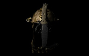 Картинка нож, шлем, каска, холодное оружие