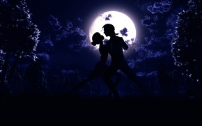 Обои ночь, луна, танец, силуэт, арт, пара