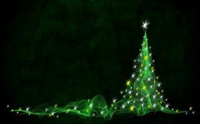 Картинка абстракция, елка, новый год, зеленая