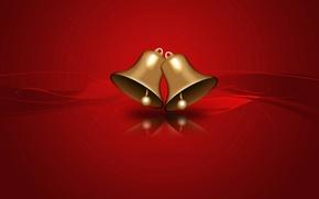 Картинка зима, вектор, Новый Год, Рождество, колокольчик, открытка