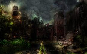 Картинка дорога, небо, облака, город, апокалипсис, дым, здания, арт, развалины, руины, постройки