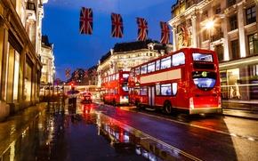 Картинка ночь, lights, Англия, Лондон, фонари, автобус, london, night, street, england, buildings, bus, уличные, зданий