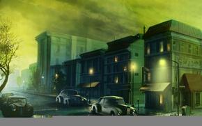 Картинка город, улица, рисунок, дома, вечер, фонари, лужи
