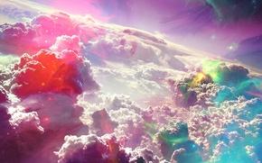 Картинка цвета, облака, свет, тучи, абстракция, огни, блики, краски, атмосфера, яркость, отблески