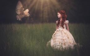 Картинка сова, платье, девочка, полёт