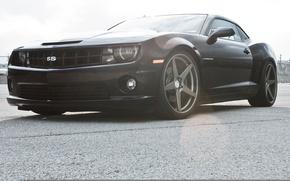 Картинка чёрный, Chevrolet, Camaro, шевроле, мускул кар, black, блик, камаро