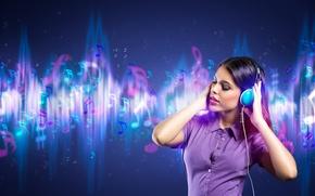 Картинка девушка, музыка, фон, наушники, мелодии