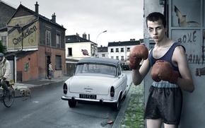 Обои боксёр, мальчик, улица
