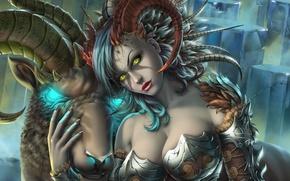 Картинка девушка, арт, fantasy, козерог