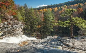 Картинка осень, лес, небо, горы, скалы