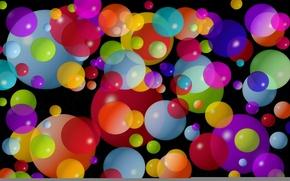 Картинка круги, шары, маленькие, большие, разноцветные, тёмный фон, средние