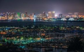 Картинка ночь, огни, Калифорния, панорама, залив, Сан-Диего, Соединенные Штаты, Марина