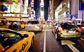 Картинка ночь, нью-йорк, night, new york, usa, nyc, Traffic Jam