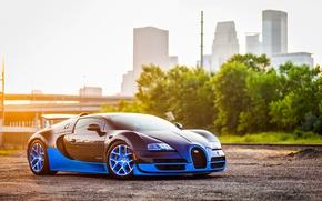 Картинка Bugatti, Grand, Veyron, Blue, Front, Sun, Sport, Supercar, Spoiler, Ligth, Vittesse