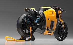 Картинка Concept, Koenigsegg, Yellow, Bike, Studio, Wheels, Brake, Rear