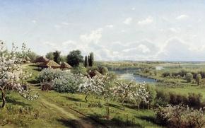Картинка картина, В Малороссии, Сергеев, Яблони в цвету