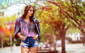 Картинка лето, девушка, лицо, стиль, одежда, волосы, мода, джинсовка