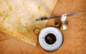 Картинка бумага, свеча, ручка, компас, подсвечник, старая