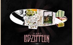 Картинка дирижабль, Rock, классика, Led Zeppelin, 1968, Jimmy Page, обложки альбомов, John Paul Jones, Robert Plant, …