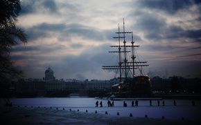 Обои корабль, питер, снег, зима, санкт-петербург, город, парусник