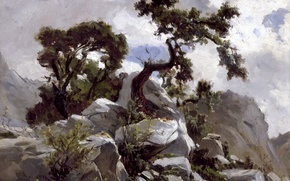 Картинка картина, скалы, природа, деревья, Карлос де Хаэс, Горный Пейзаж, камни
