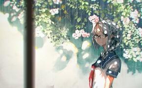 Картинка девушка, цветы, дождь, аниме, арт, очки, форма, школьница, 5esrs