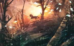 Картинка деревья, конь, ветер, арт, бег, нарисованный пейзаж