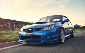 Картинка холмы, Subaru, Impreza, WRX, блик, синяя, blue, субару, импреза