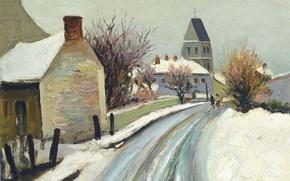 Картинка снег, пейзаж, дерево, дома, картина, городской, Марсель Диф, The Street of Perdreau Bois at Arcy ...