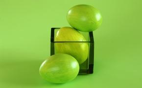 Обои пасха, стакан, яйца, зелёный