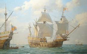 Картинка корабль, парусник, арт, вода. море