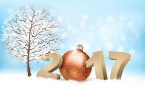 Картинка зима, снег, снежинки, ветки, сияние, фон, дерево, праздник, игрушка, графика, новый год, вектор, шарик, цифры, ...