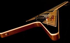 Обои корпус, струны, гитара, гриф, электрогитара, gibson, чёрный фон, flying v
